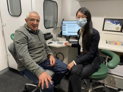 Lions club member with Specsavers audiologist